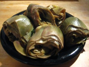 Carciofi alla romana: they may not be beautiful, but they sure are tasty.