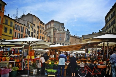 Daily market at Campo de Fiori square