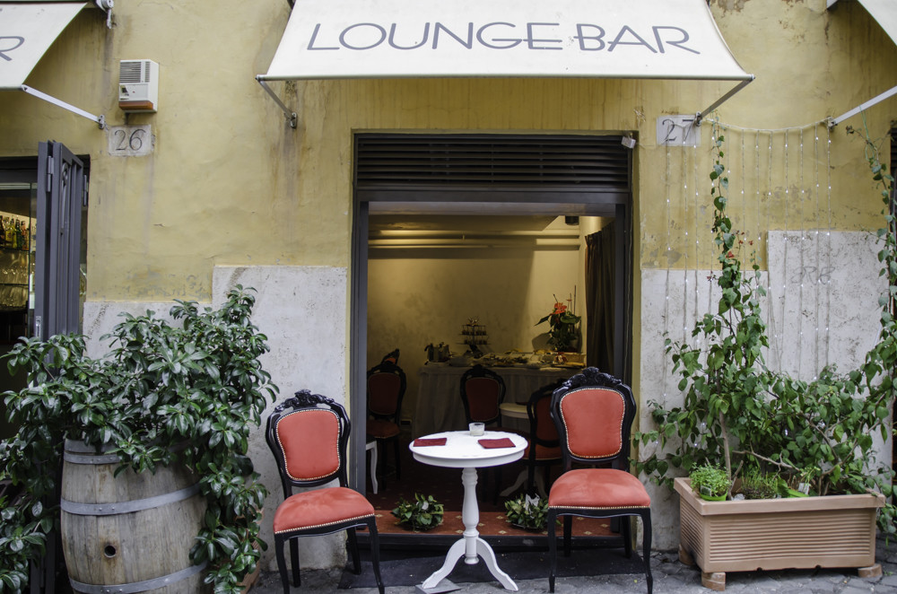 An outside seating of a lounge bar