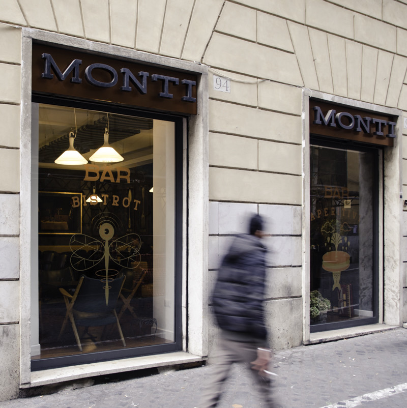Windows of the Bar Monti in Rome