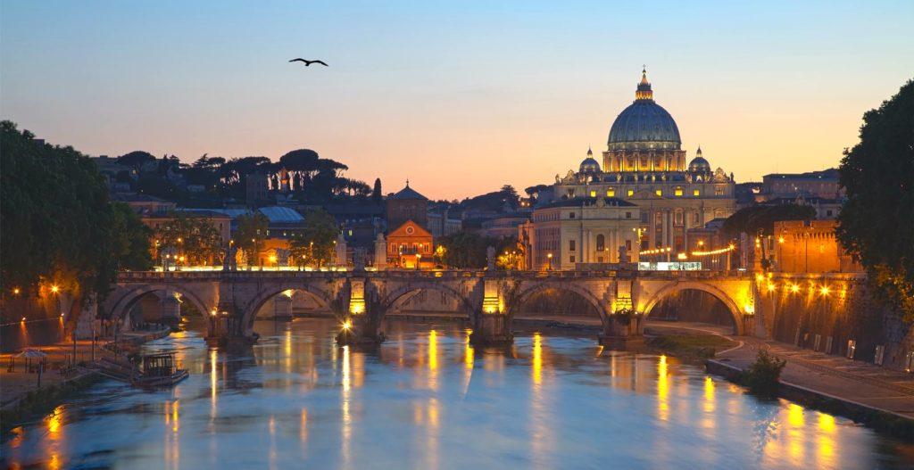 Traveling in Rome Bridge at Dusk